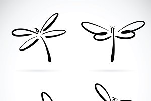 Vector group of dragonfly sketch