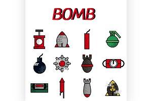Bomb flat icon set