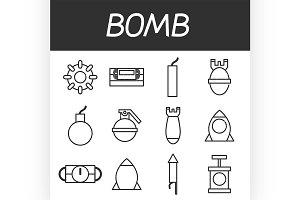 Bomb icons set