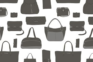 Pattern with different women bags