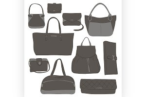 Collection of different women bags