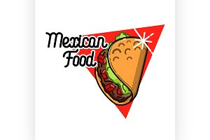 Color vintage mexican food emblem