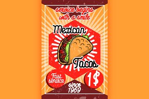Color vintage mexican food poster