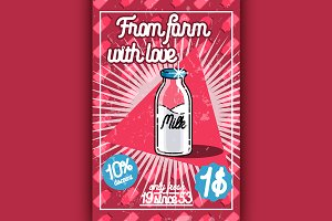Color vintage Milk poster