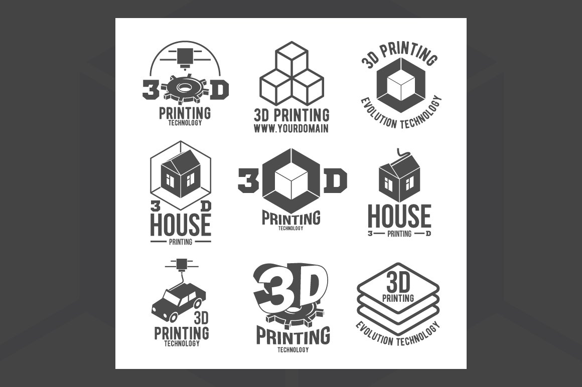 3d Printer Icons And Logotypes Logo Templates Creative