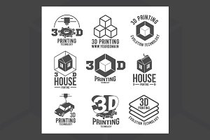 3D printer icons and logotypes