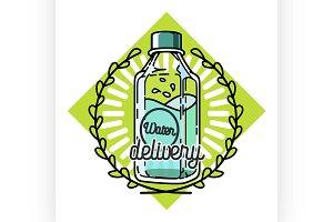 Color vintage Water delivery emblem