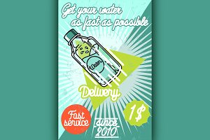 Color vintage Water delivery poster