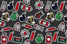 Colored Bomb icons pattern