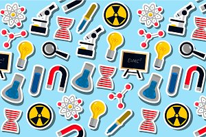 Science colorful pattern icons