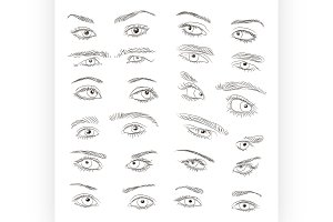 Hand drawn Eyes set