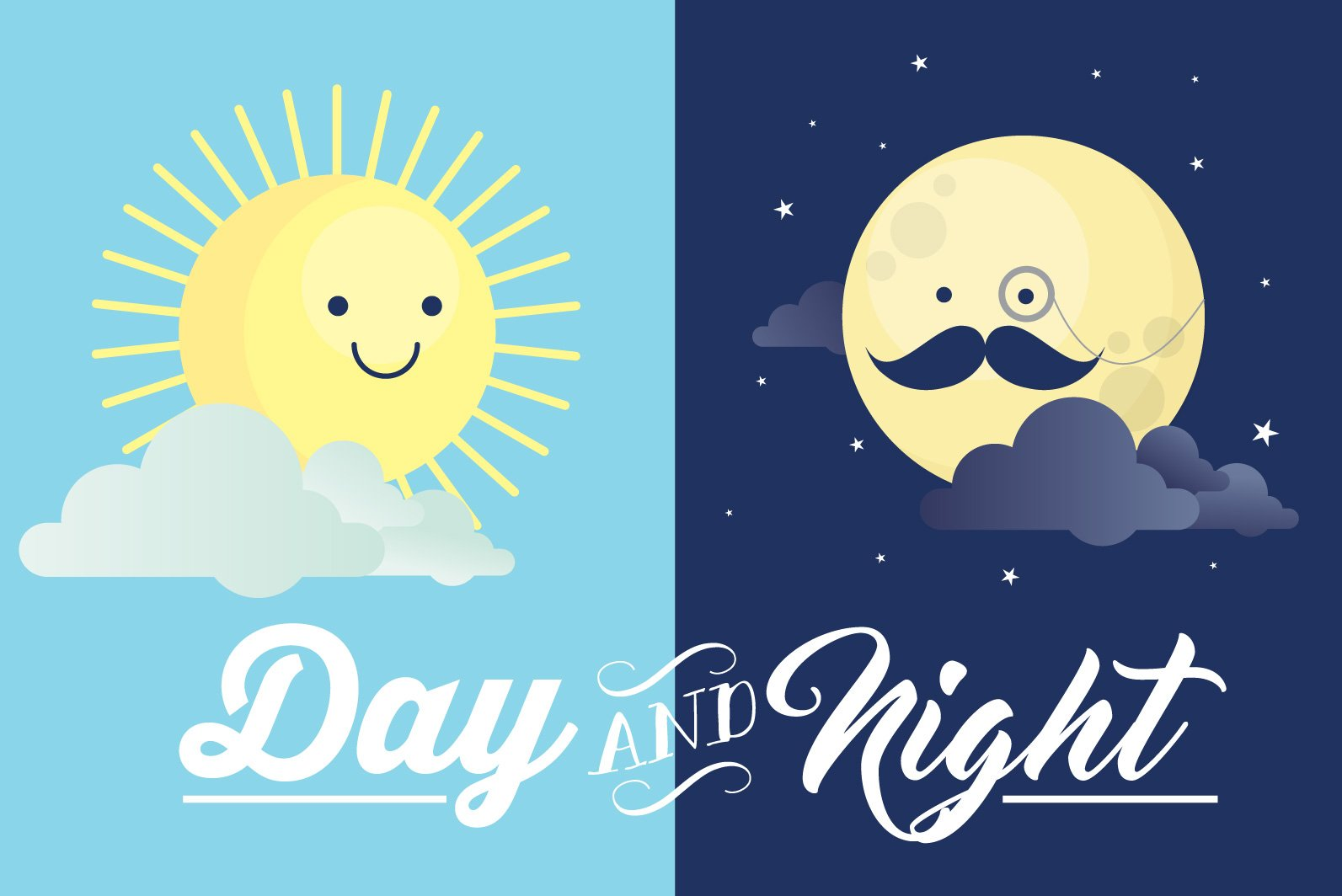 day and night vector illustrations creative market. Black Bedroom Furniture Sets. Home Design Ideas