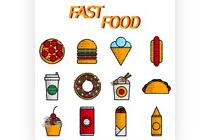 Fast food flat icon set