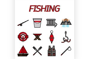 Fishing flat icon set