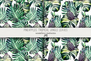 Tropical leaves,pineapples patterns