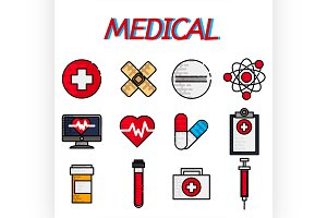 Medical flat icon set
