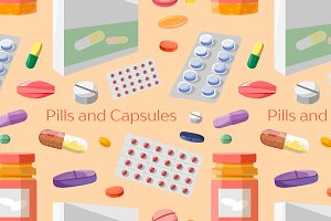 Pills and Capsules Icons Set pattern