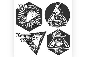 Vintage mexican food emblems