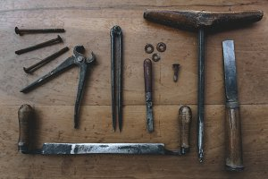 Set of vintage tools