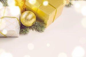 christmas gift boxes and balls
