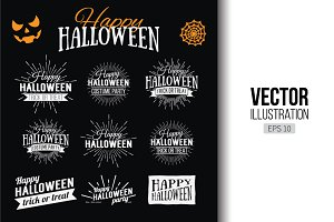 Happy Halloween Logo set. 9 labels