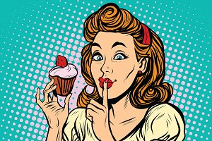 Retro woman with cupcake