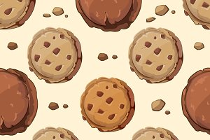 Cookies vector seamless pattern