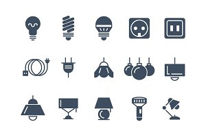 Lamp and bulbs vector icons set