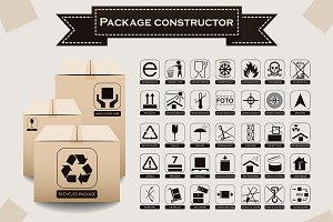 Vector packaging symbols set