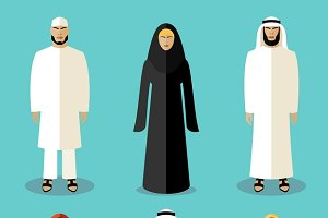 Muslim people flat icons