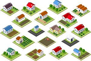 Town isometric view