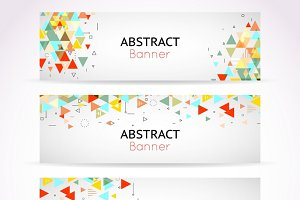 Vector triangle polygonal banners