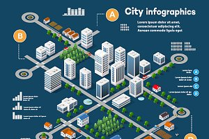 3D city isometric infographics