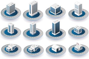 3D isometric city icons