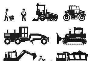 Road construction worker icons