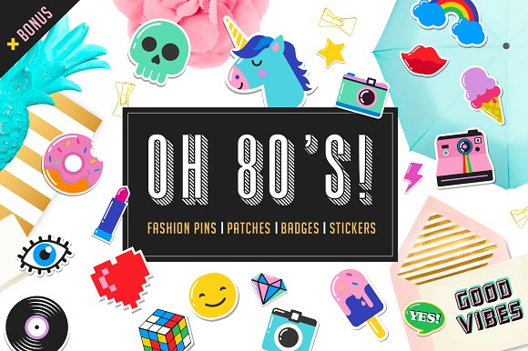 Pop art 80s patches and stickers icons creative market toneelgroepblik Images