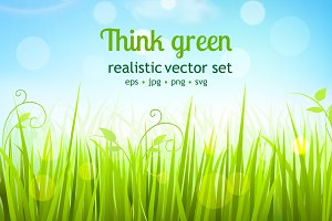 Green grass realistic vector set