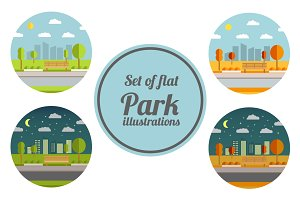 Set of flat park illustrations