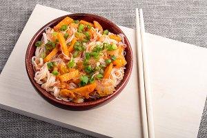 Closeup Asian dish of rice noodles