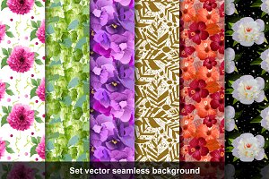 Set 6 seamless floral background