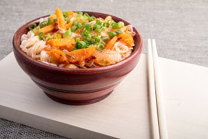 Closeup Asian food of rice noodles