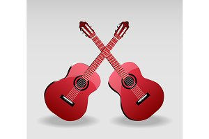 Two classical red guitars