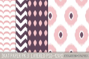 Four Ikat Layered Photoshop Files