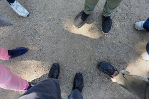 Three people feet