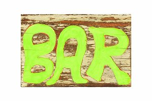 Bar sign written on wood