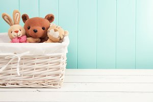 A basket with stuffed animal toys