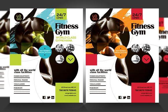 fitness gym flyer v4 flyer templates creative market. Black Bedroom Furniture Sets. Home Design Ideas