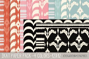 Ikat Digital Papers Pk. in 4 Colors