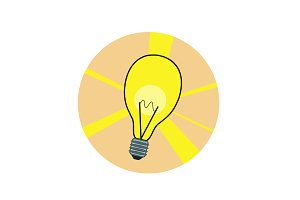 Flat shiny lamp icon. Vector