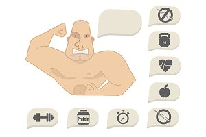 Bodybuilder torso. Vector